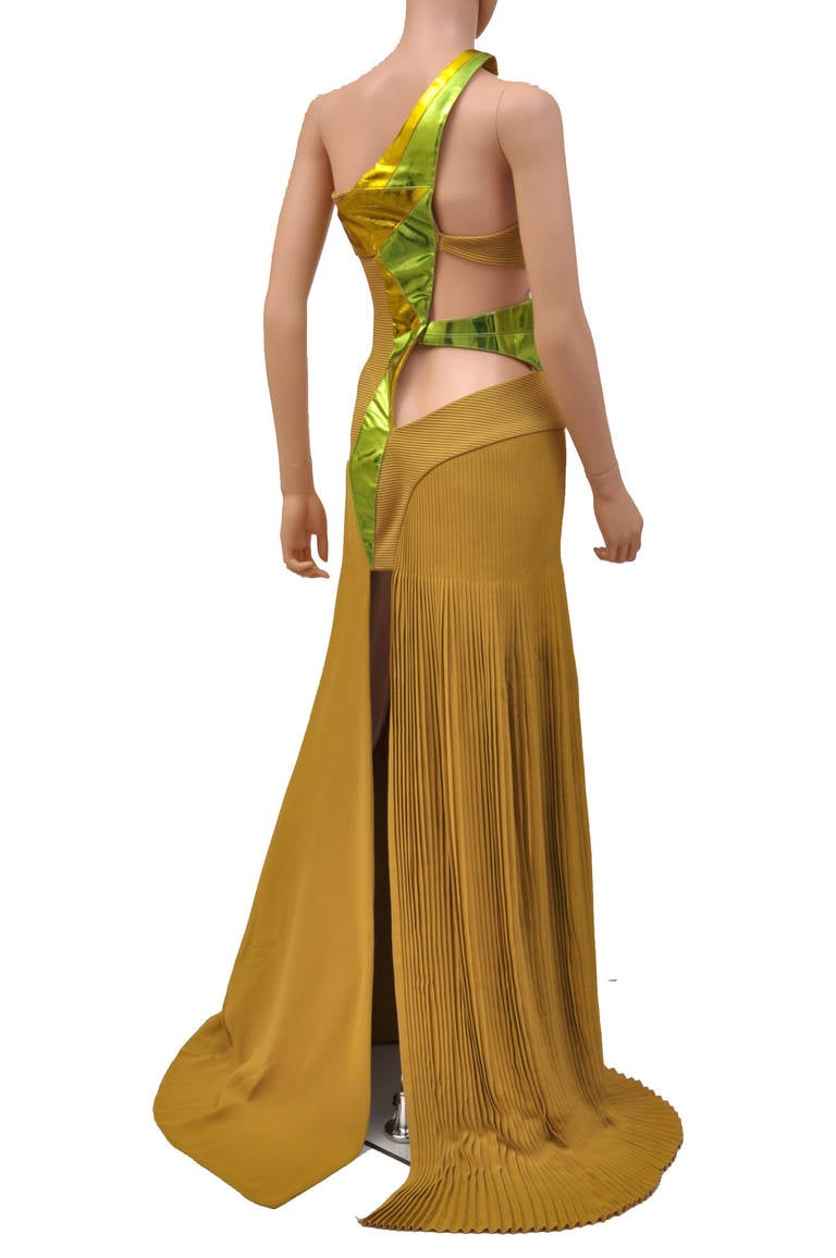 New VERSACE YELLOW SILK and LEATHER GOWN 6