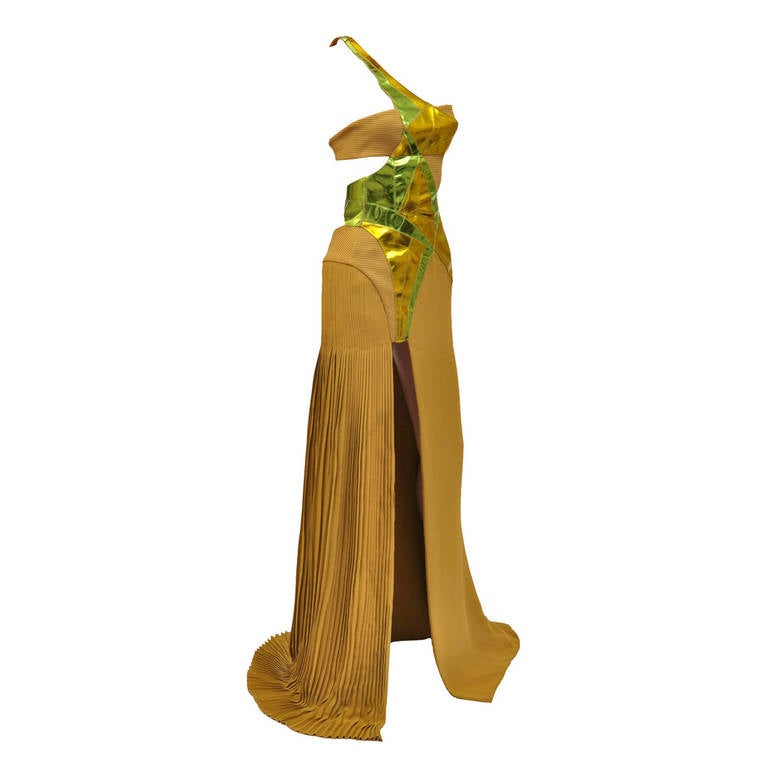 New VERSACE YELLOW SILK and LEATHER GOWN 1