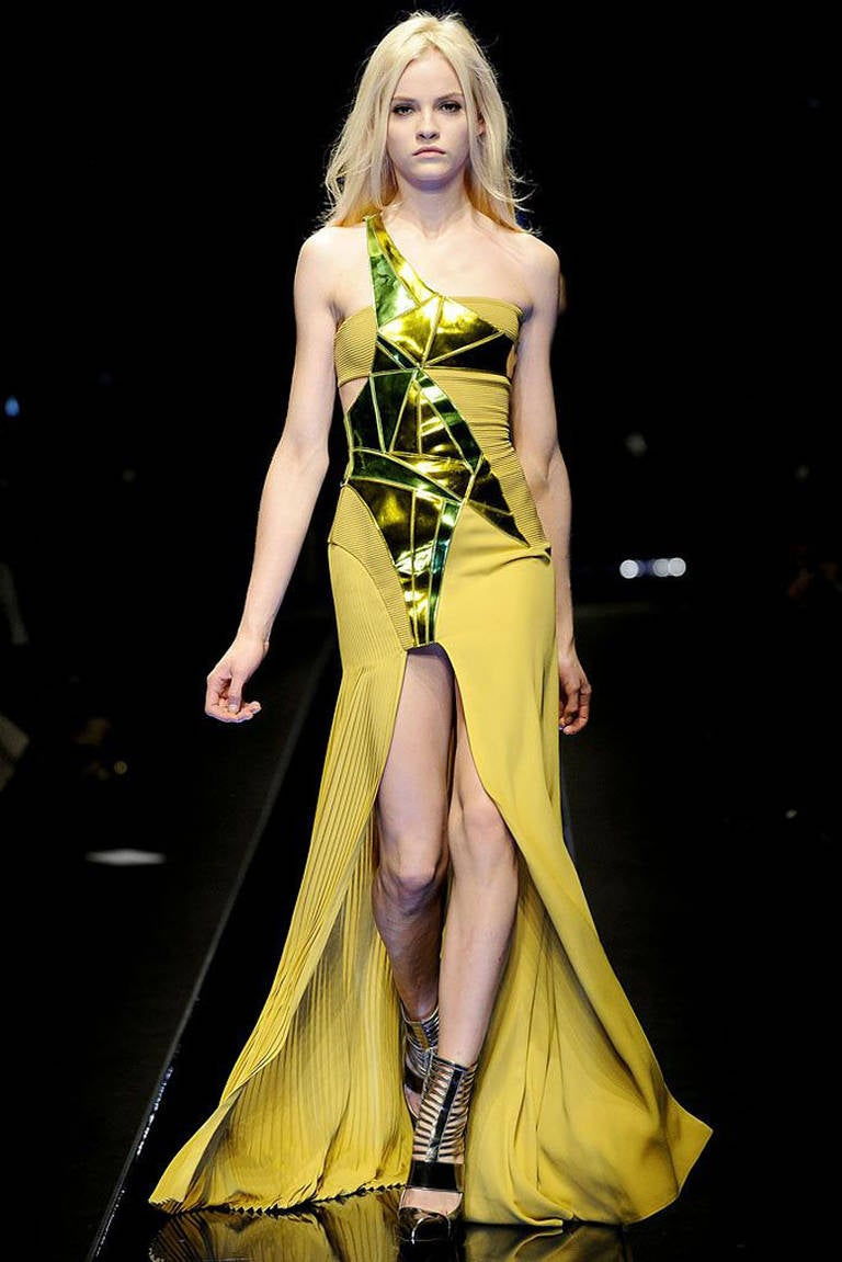 New VERSACE YELLOW SILK and LEATHER GOWN 2