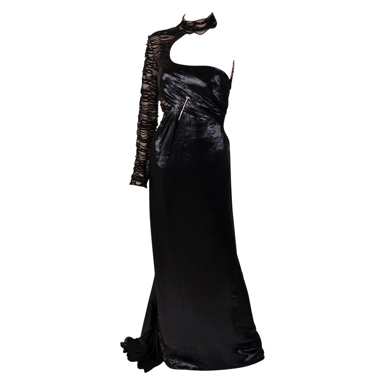 New VERSACE BLACK EMBELLISHED GOWN
