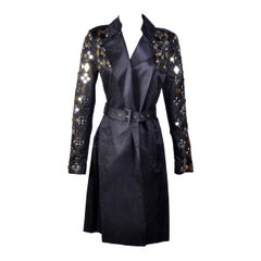 New VERSACE Black Embellished Linen Cotton Trench Coat