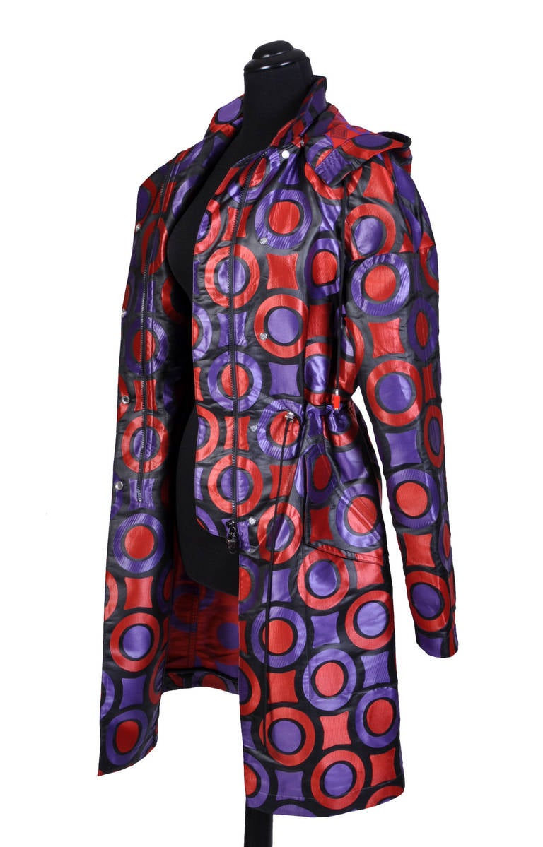 New VERSACE Textured Jacquard Trench Coat with Hood 8
