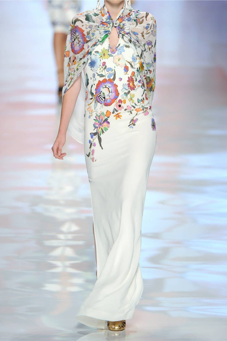 New Etro Runway White Floral Print Caped Gown At 1stdibs