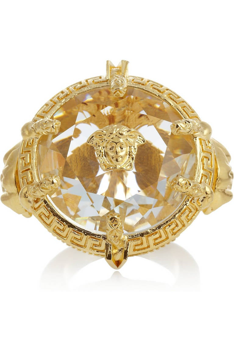 New Versace Oversized Gold Plated Crystal Ring At 1stdibs