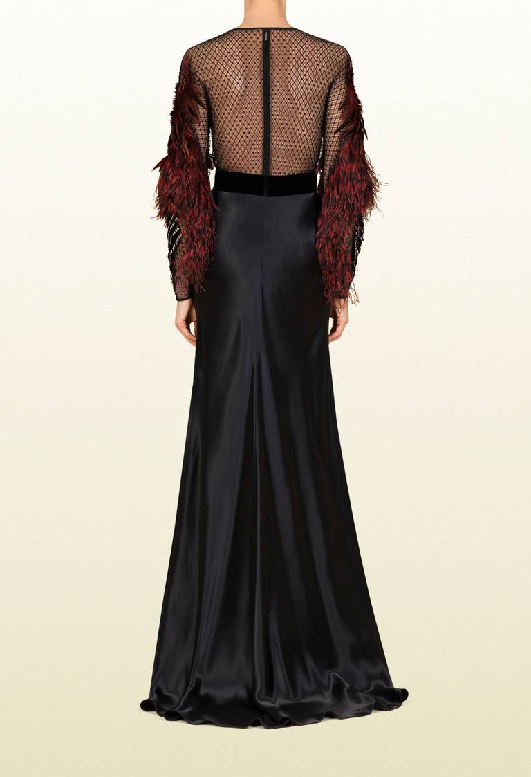 Gucci Black Heavens Bird Embroidered Gown 40 In Excellent Condition For Sale In Montgomery, TX
