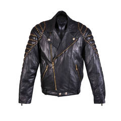 New VERSACE BLACK QUILTED STUDDED LEATHER BIKER JACKET