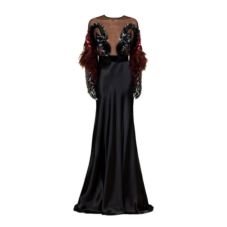 Gucci Black Heavens Bird Embroidered Gown 40 For Sale