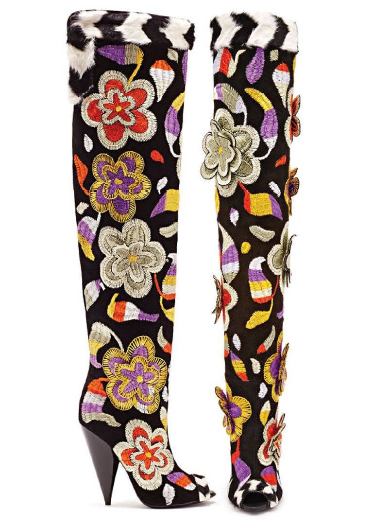 Beige TOM FORD 2D Floral Embroidered Over-the-Knee Boots For Sale