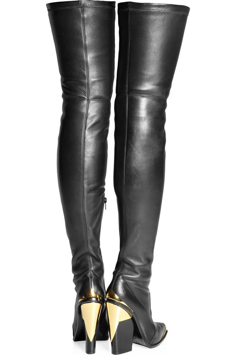 versace black leather thigh boots for sale at 1stdibs