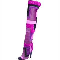 Tom Ford Geometric Patchwork Fur Over-the-Knee Boots