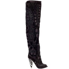 TOM FORD BLACK OVER THE KNEE BOOTS WITH OPEN Toe 37, 37.5, 38