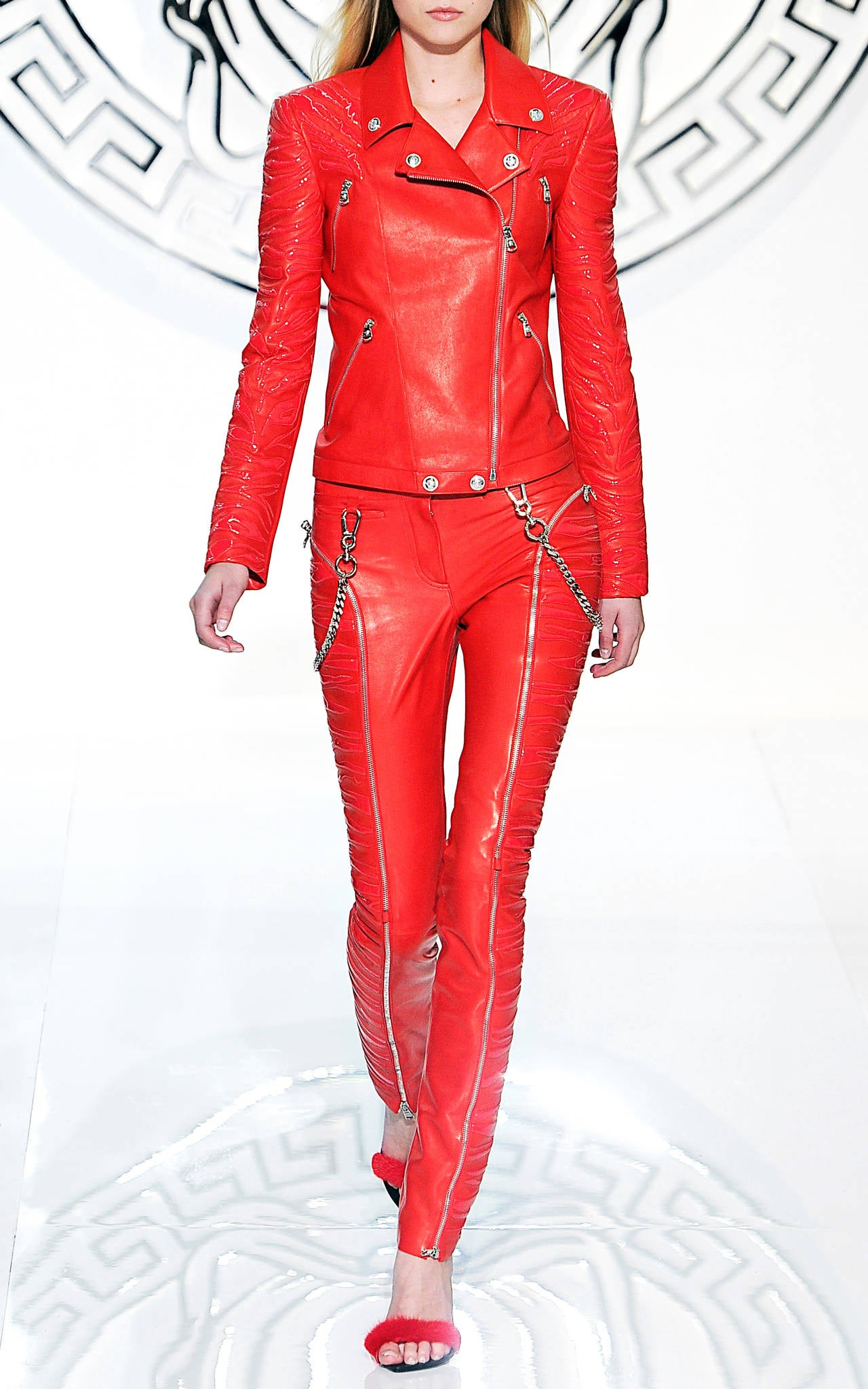 New VERSACE Red Leather Moto Jacket With Vinyl Animal Stripes 2