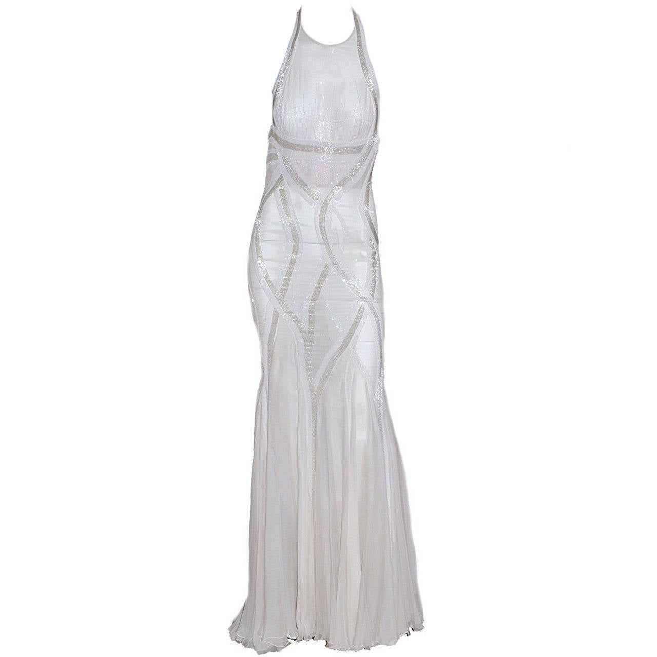 New VERSACE EMBELLISHED MERMAID CHIFFON GOWN 1