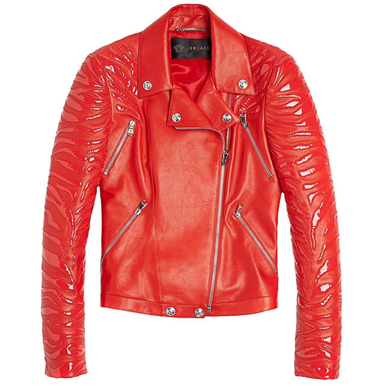 New VERSACE Red Leather Moto Jacket With Vinyl Animal Stripes 1