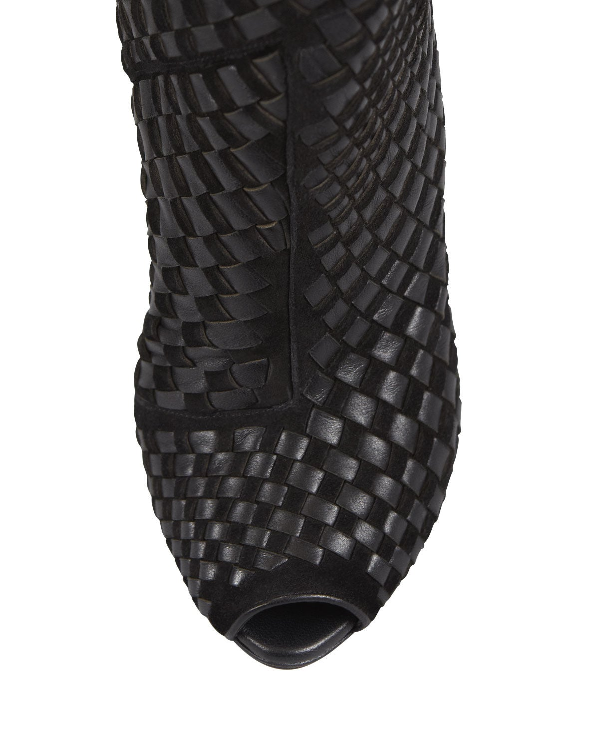 New TOM FORD Black Woven Suede/Leather Over-the-Knee Boot 3