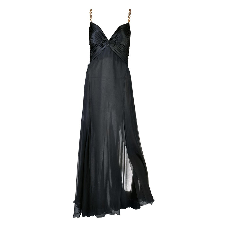Versace Black Silk Chiffon Gown with Greek Key Straps For Sale