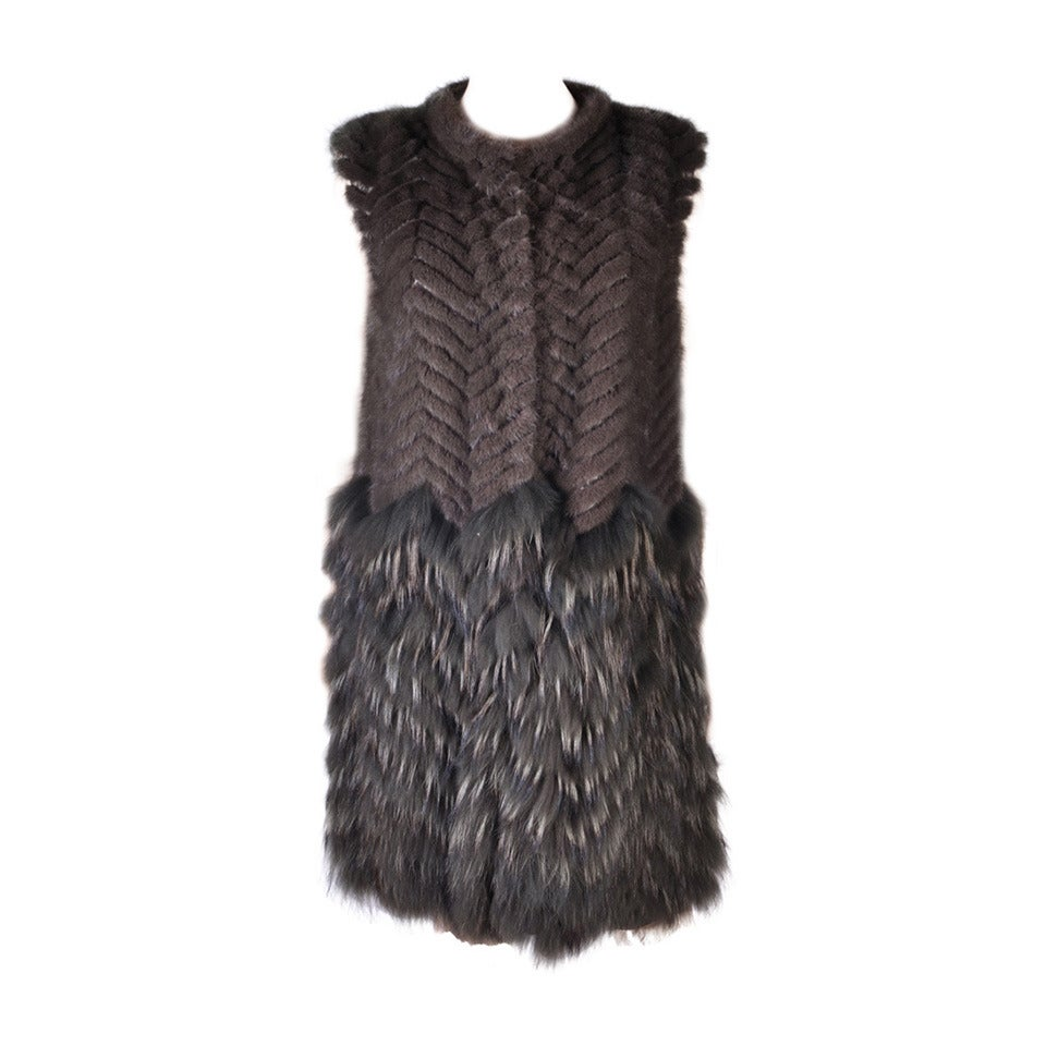New Versace Mink & Finn Raccoon Fur Sleeveless Coat For Sale