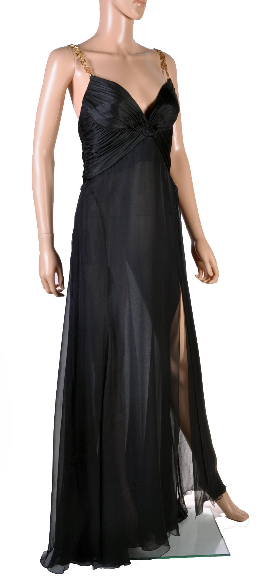 Beautiful Versace Black Silk Sheer Chiffon Gown with Golden Greek Key Straps. Size 46