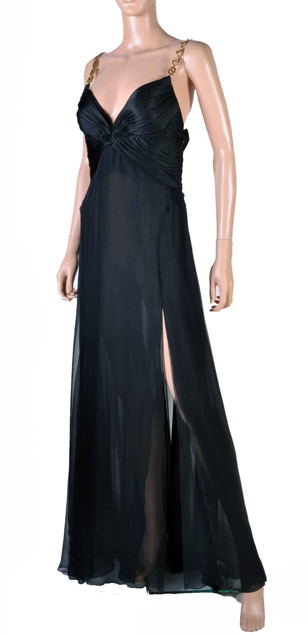 Versace Black Silk Chiffon Gown with Greek Key Straps In New never worn Condition For Sale In Montgomery, TX
