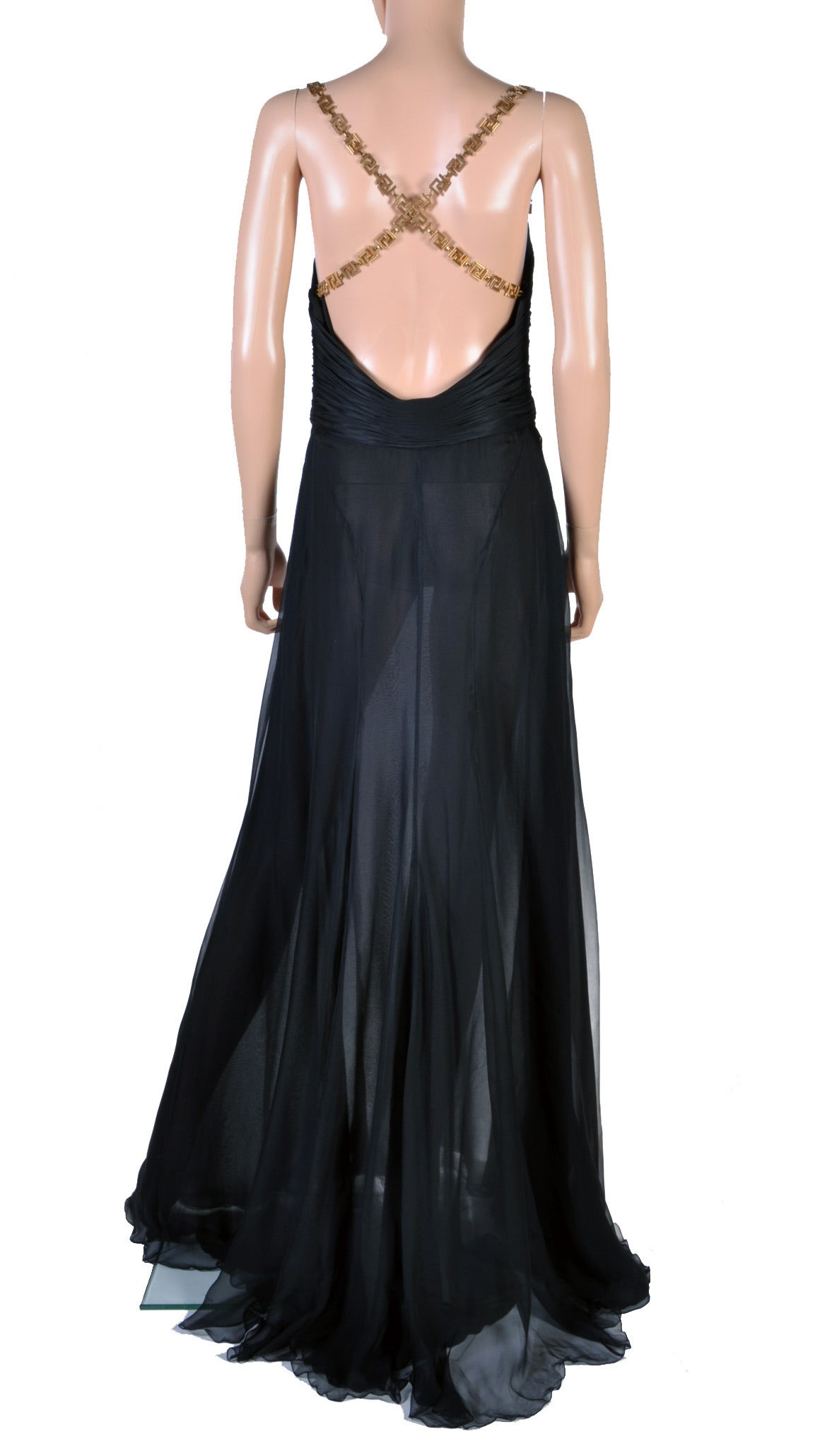 Versace Black Silk Chiffon Gown with Greek Key Straps For Sale 1