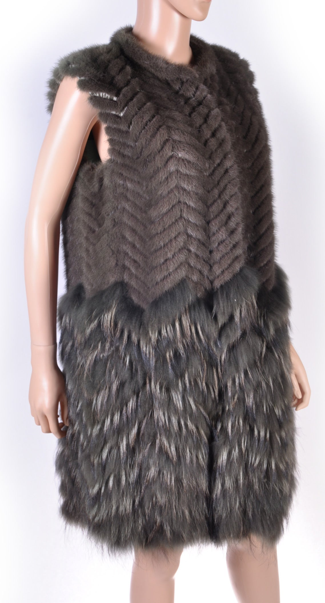 New Versace Mink & Finn Raccoon Fur Sleeveless Coat 2