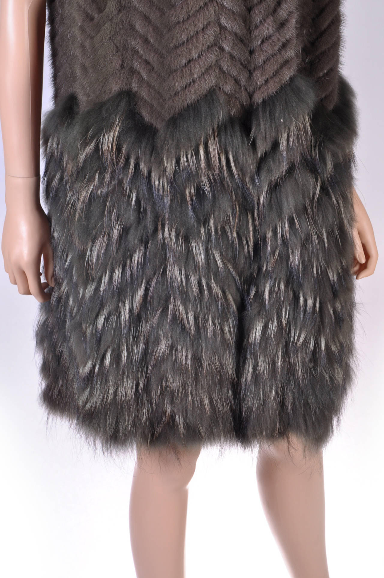 Black New Versace Mink & Finn Raccoon Fur Sleeveless Coat For Sale