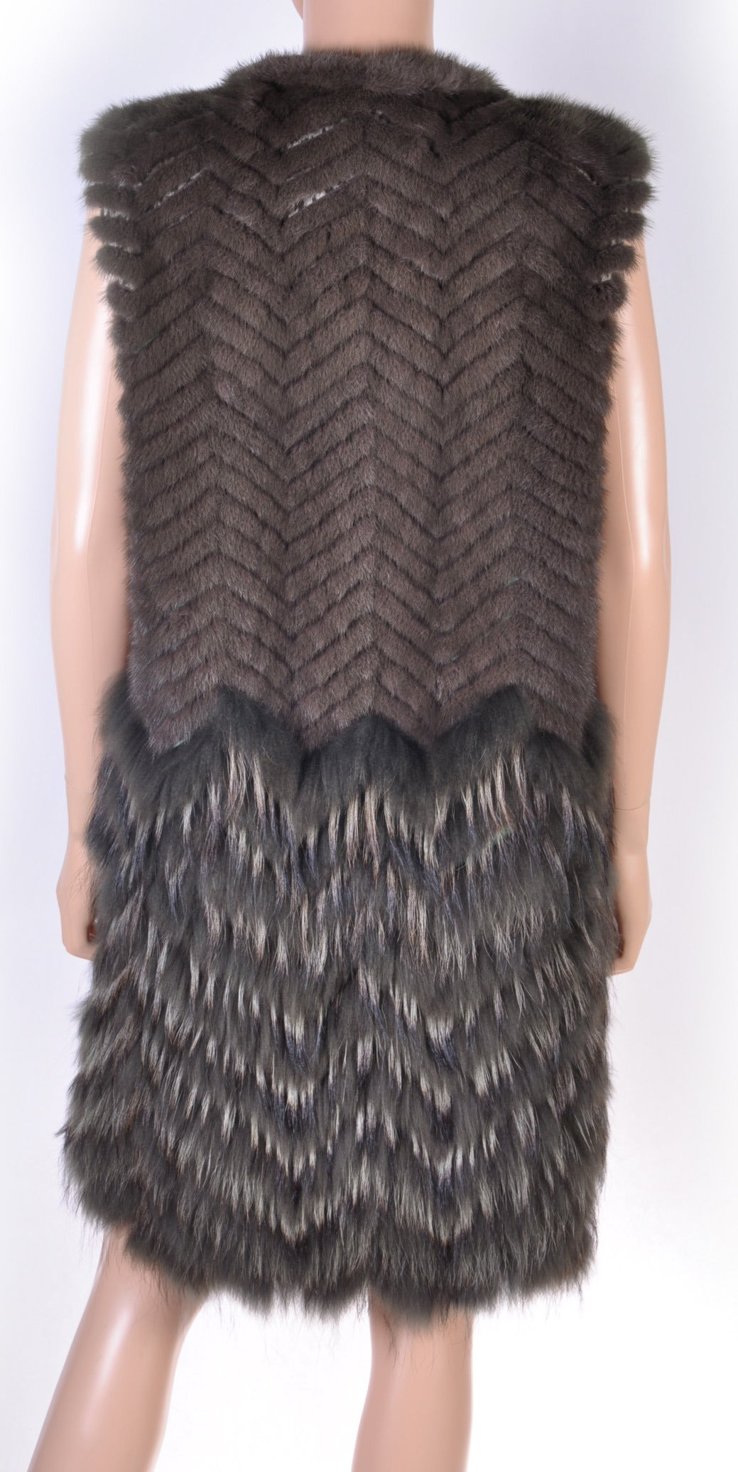 New Versace Mink & Finn Raccoon Fur Sleeveless Coat 5