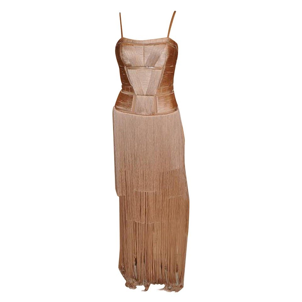 Brand New Versace Nude Fringe Gown Dress at 1stdibs