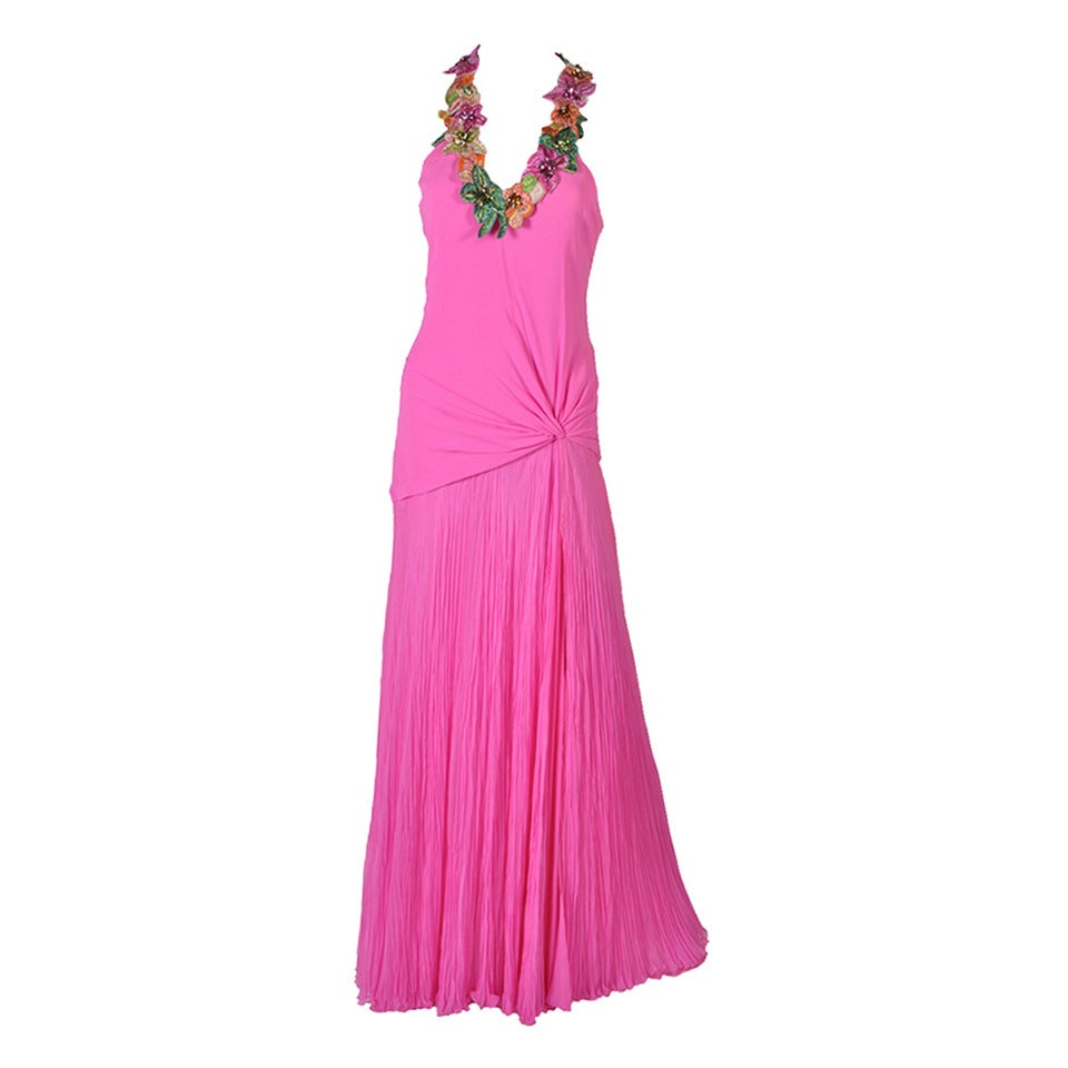 New VERSACE Hot Pink Embellished Gown