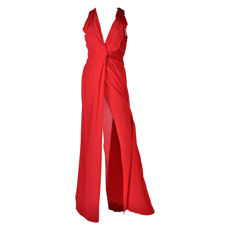 VERSACE Embellished Red Silk Gown on Emmy's list of the most iconic! 1