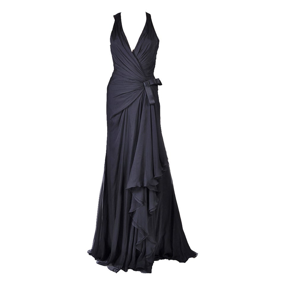 New VERSACE Black Chiffon Silk Gown For Sale