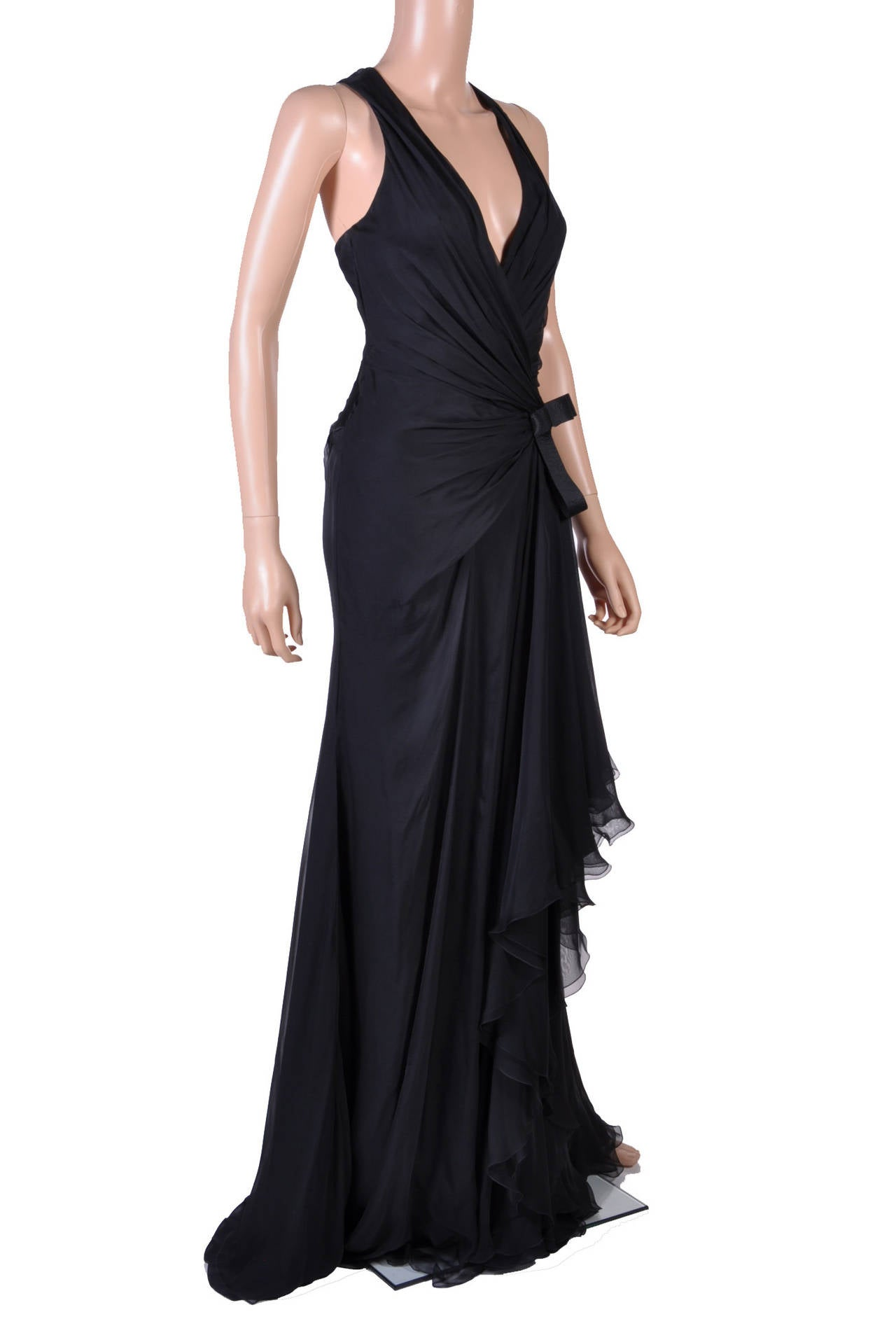 New VERSACE Black Chiffon Silk Gown 2