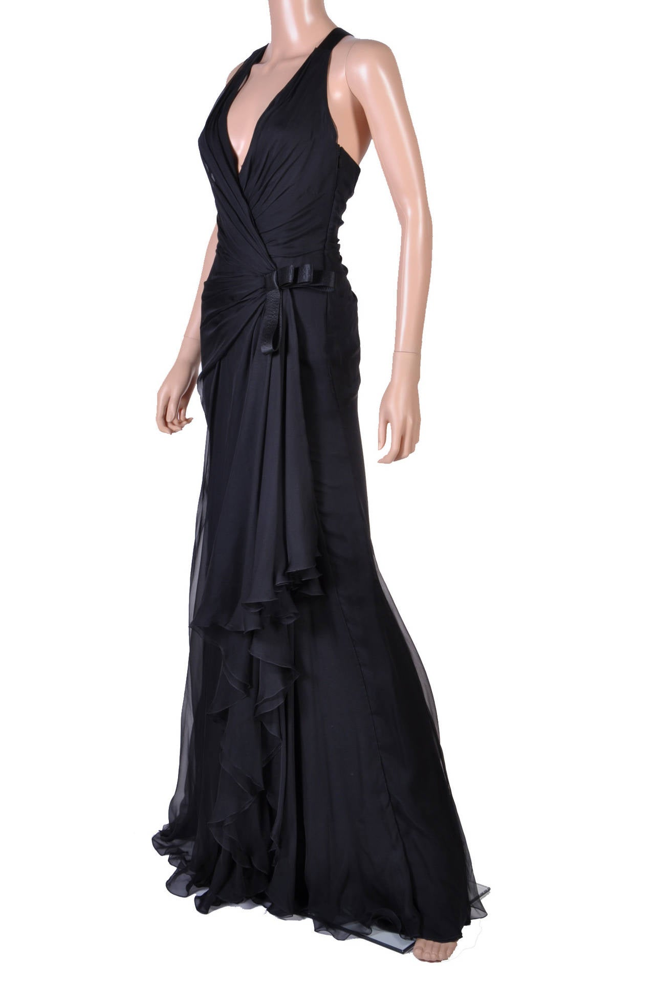 New VERSACE Black Chiffon Silk Gown In New Never_worn Condition For Sale In Montgomery, TX