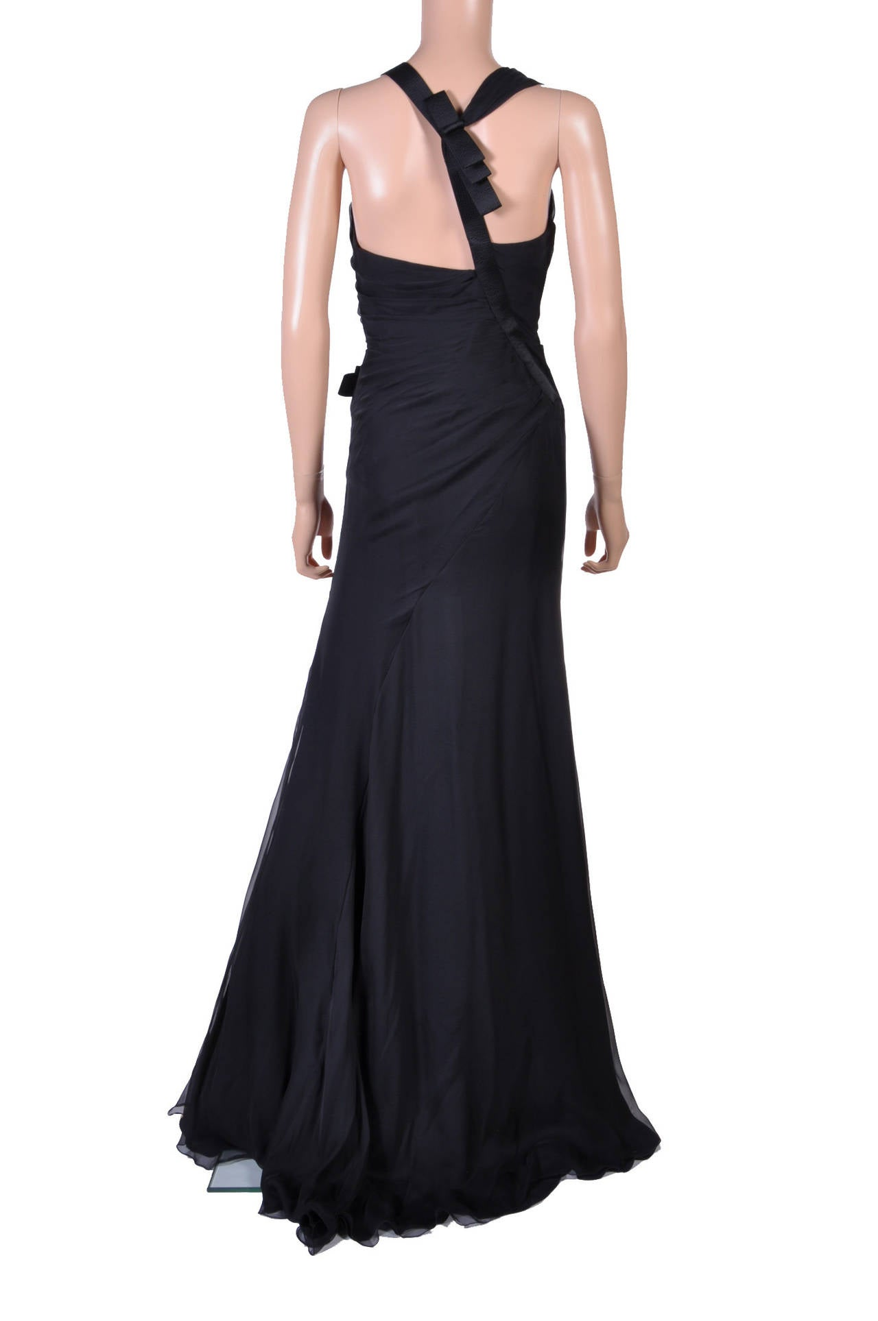New VERSACE Black Chiffon Silk Gown For Sale 1