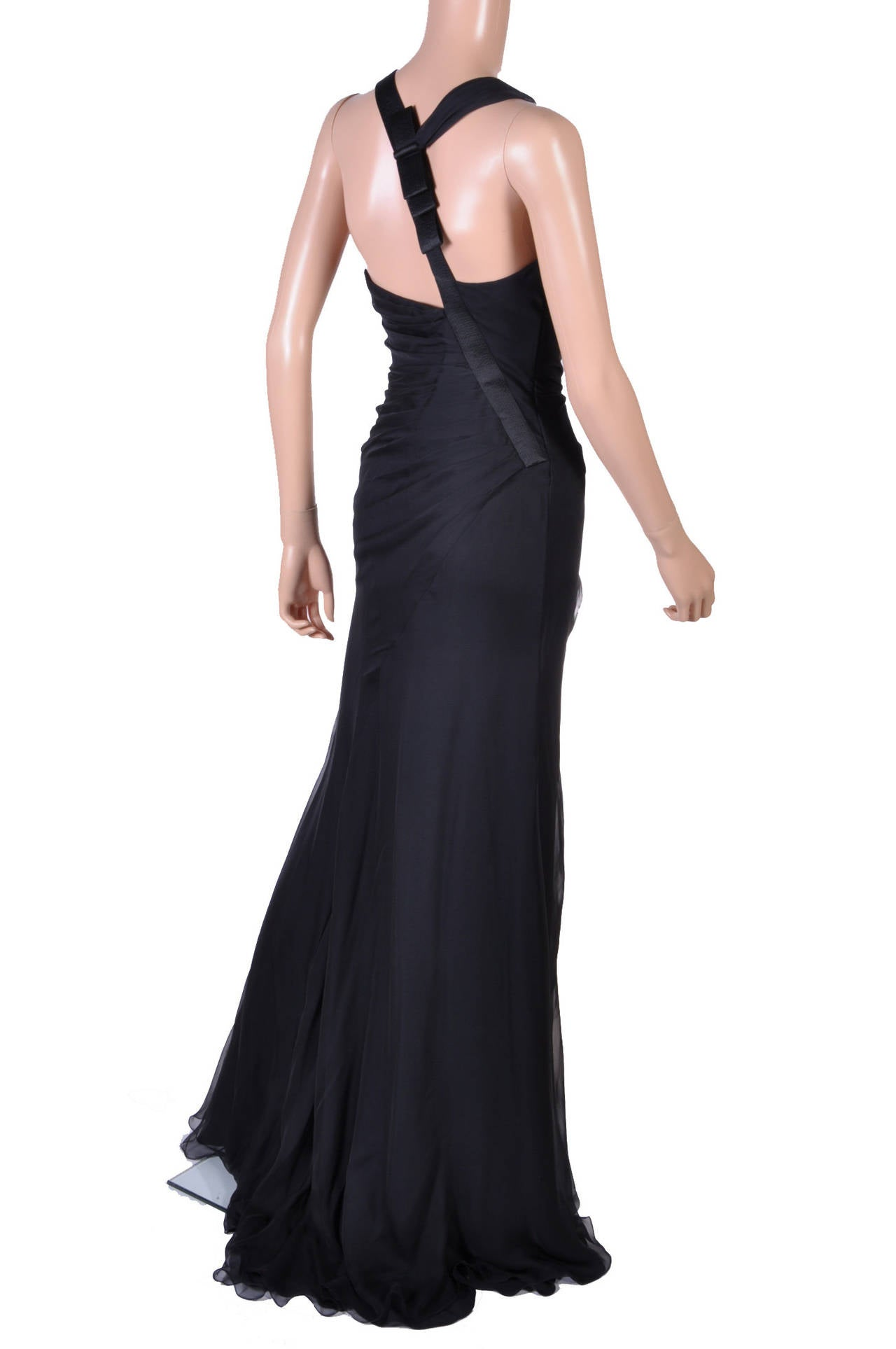 New VERSACE Black Chiffon Silk Gown For Sale 2