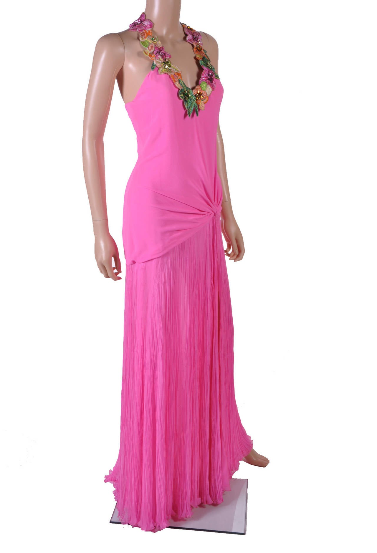 New VERSACE Hot Pink Embellished Gown For Sale at 1stdibs