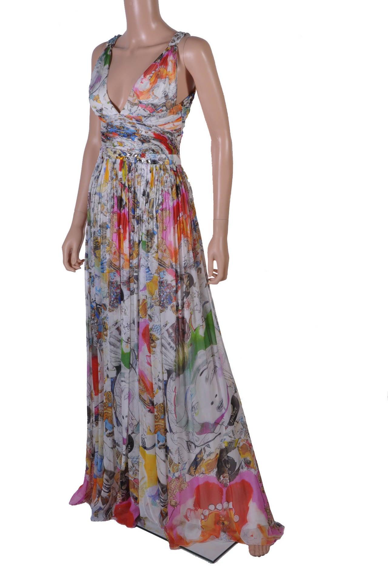 New VERSACE Julie Verhoeven Print Embellished Long Dress ...