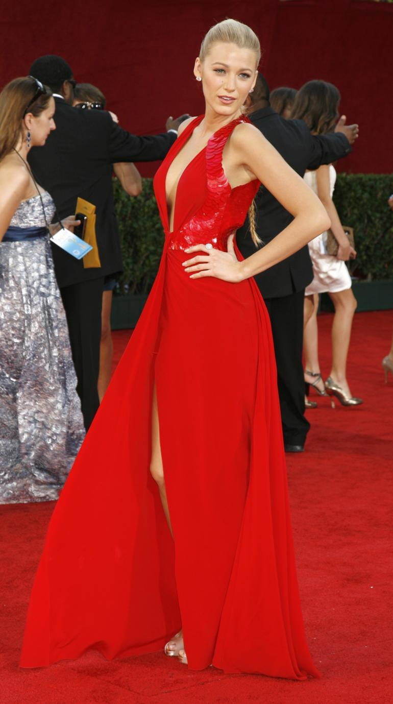 VERSACE Embellished Red Silk Gown on Emmy's list of the most iconic! 2