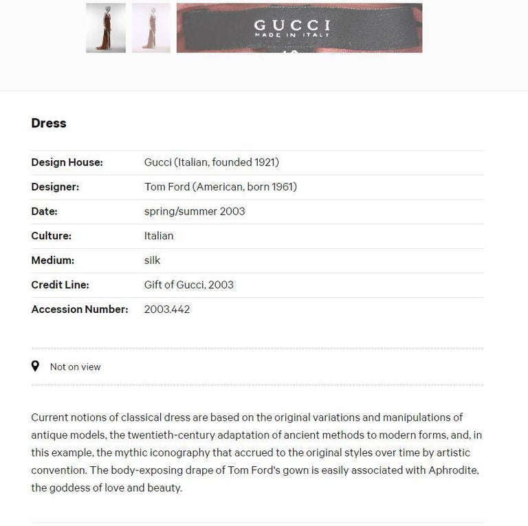 Tom Ford For Gucci Greek Goddess Silk Gown, 2003  For Sale 2