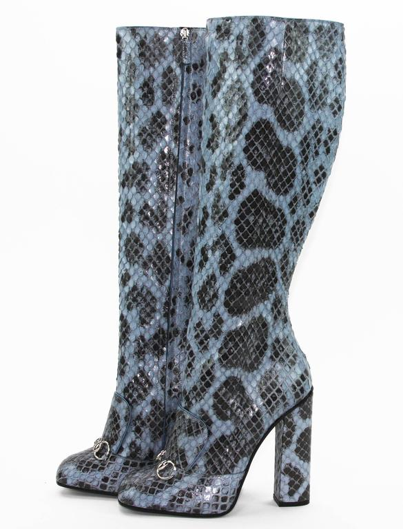 New GUCCI PYTHON HORSEBIT KNEE HIGH BOOT AQUAMARINE  2