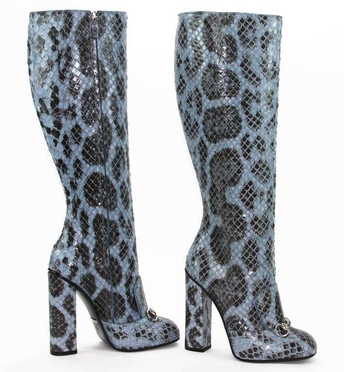 New GUCCI PYTHON HORSEBIT KNEE HIGH BOOT AQUAMARINE  4