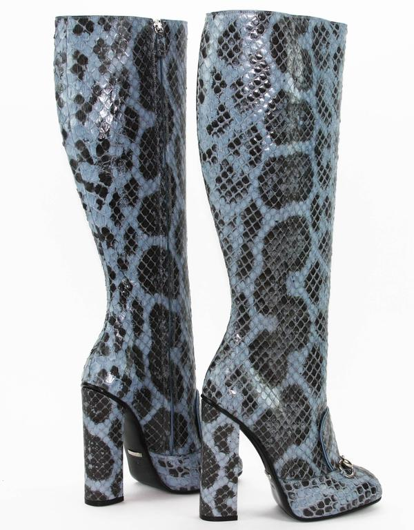New GUCCI PYTHON HORSEBIT KNEE HIGH BOOT AQUAMARINE  5