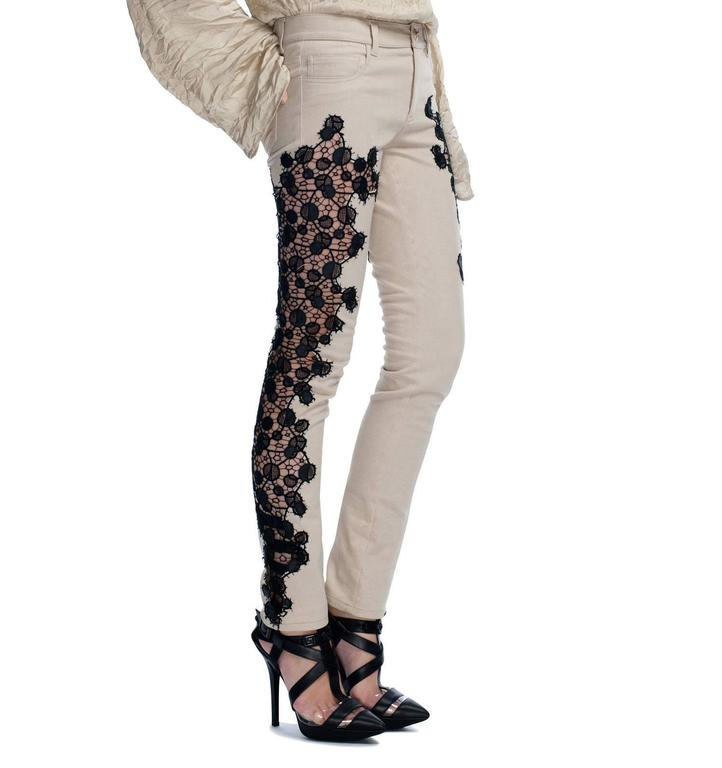 Beige New VERSACE Contrast Lace Panel Jeans For Sale