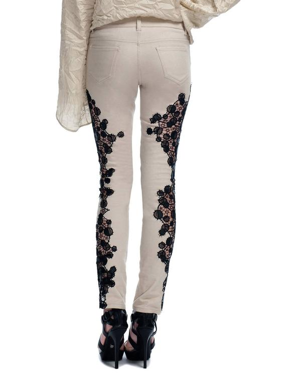 New VERSACE Contrast Lace Panel Jeans In New Never_worn Condition For Sale In Montgomery, TX