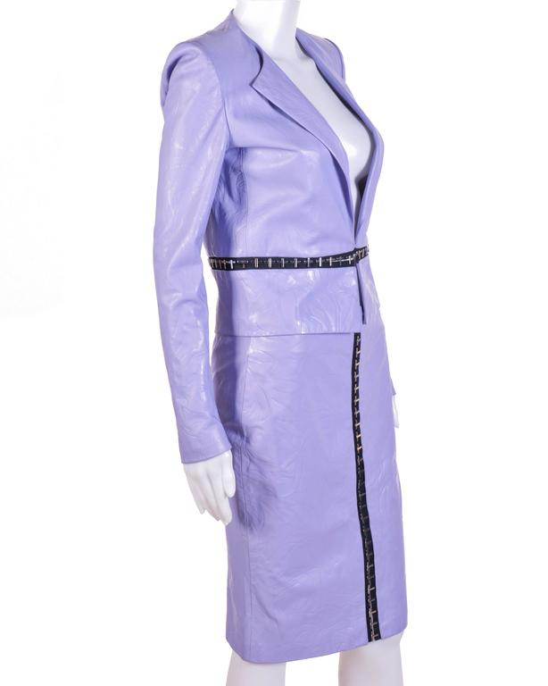 Versace Floral Embossed Lilac Leather Jacket and Skirt For Sale at ...
