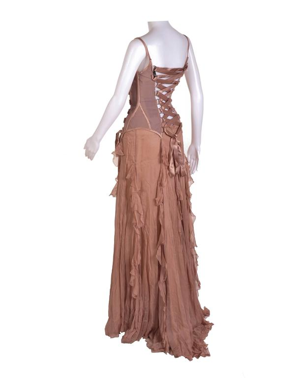 VERSACE Nude Corset Long Dress In New Never_worn Condition For Sale In Montgomery, TX