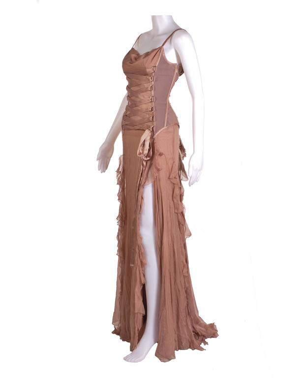 Brown VERSACE Nude Corset Long Dress For Sale