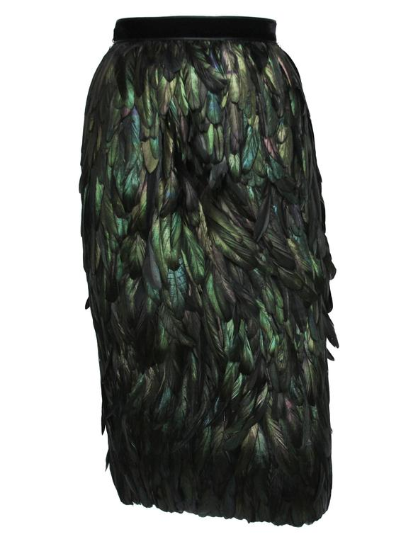 Gucci Silk Feather Dark Green Skirt For Sale 2