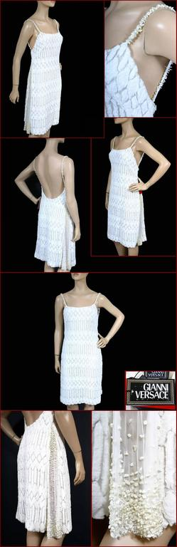 Gianni Versace Couture Pearl Embellished White Dress 2