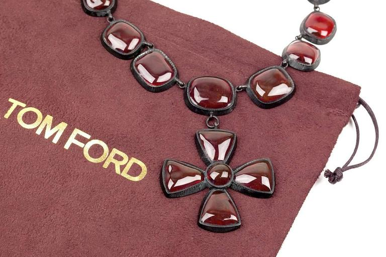 Tom Ford Red Pate De Verre Necklace With Cross For Sale 1